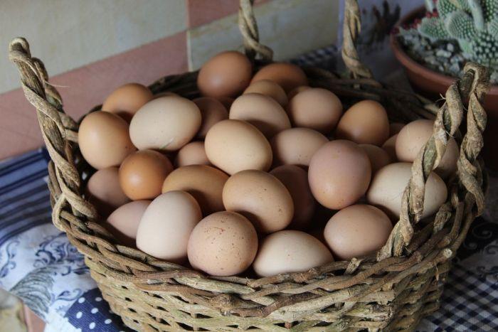 Basket full of brown eggs