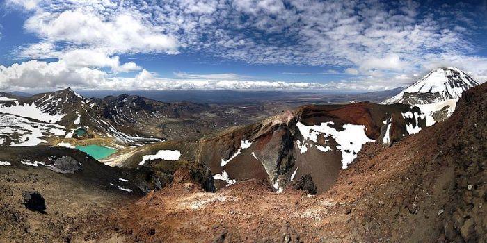 Panoramic photograph of the Tongariro Alpine Crossing in New Zealand