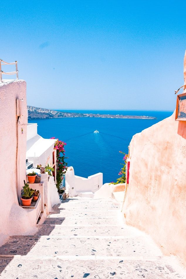 Stairway leading down to the Mediterranean in Oia, Greece