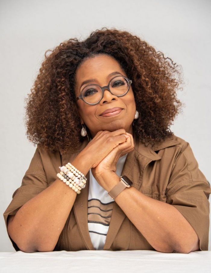 "Oprah Winfrey at the ""David Makes Man"" Press Conference at the Four Seasons Hotel on August 06, 2019 in Beverly Hills, California."