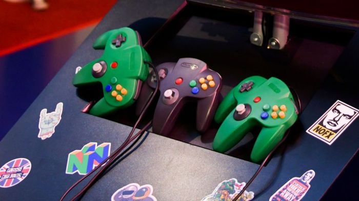 Nintendo 64 controllers at the new '90s room launch at Madame Tussauds on March 27, 2019 in Hollywood, California.