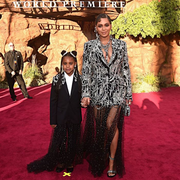 "Blue Ivy Carter (L) and Beyonce Knowles-Carter attend the World Premiere of Disney's ""THE LION KING"" at the Dolby Theatre on July 09, 2019 in Hollywood, California"