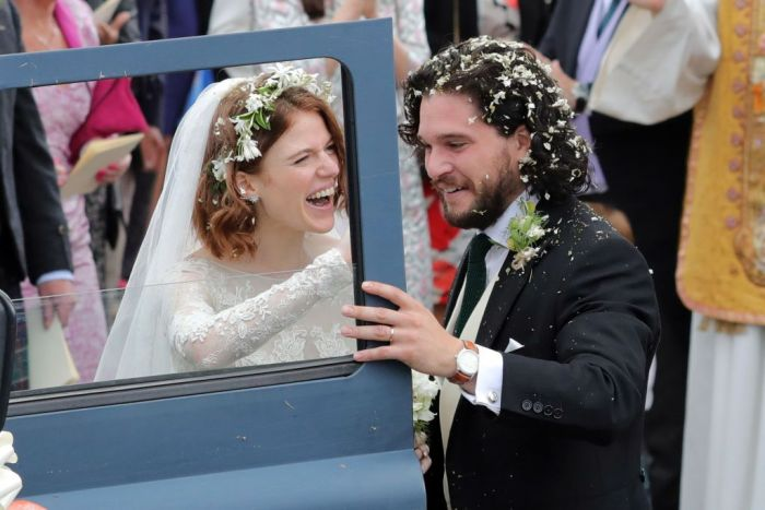Kit Harrington and Rose Leslie departing Rayne Church in Kirkton on Rayne after their wedding