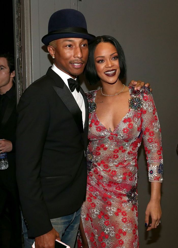 Singers Pharrell Williams (L) and Rihanna attend the 2016 MusiCares Person of the Year honoring Lionel Richie at the Los Angeles Convention Center