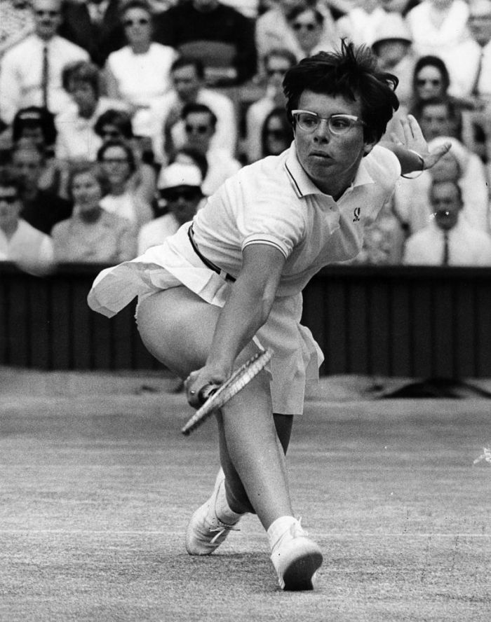 American tennis player Billie Jean King makes a powerful back-hand during her semi-final match against Ann Jones at the Wimbledon Lawn Tennis Championships