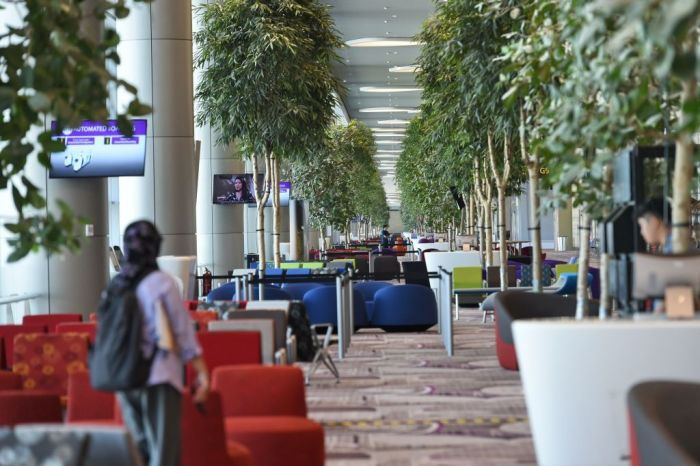 waitng zone before passengers board their flights at the newly built Changi airport terminal 4 in Singapore