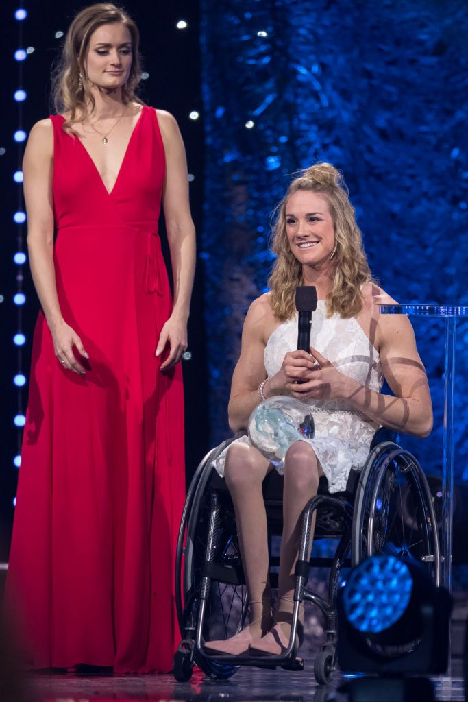 Birgit Skarstein receives the award from Christina Vukicevic during the Sport Gala Awards