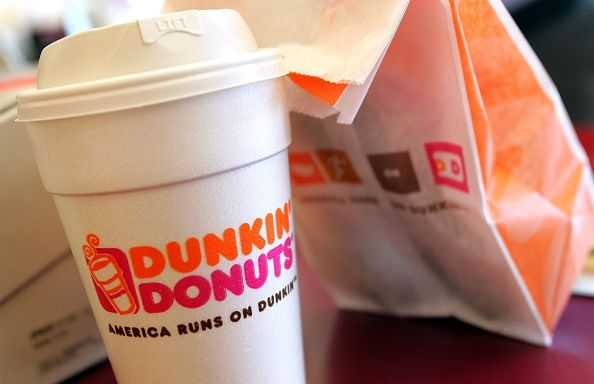 dunkin' donuts cup and bad